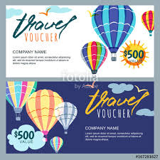 vector gift travel voucher template multicolor air balloons