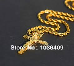 aliexpress cross necklace images Men 39 s gold color jesus cross pendant necklace chain in pendant jpg