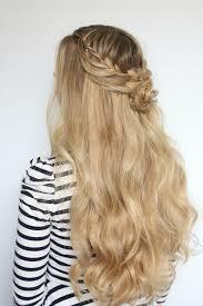 flower hair bun hairstyle half up flower bun for prom luxy hair