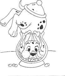 dalmatian in a small aquarium coloring page animal pages of