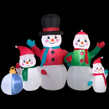 gemmy 5 ft inflatable snowman family scene 13326 the home depot