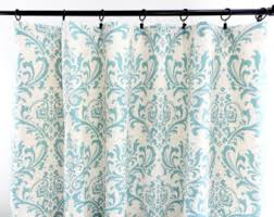 Damask Kitchen Curtains by Blue Curtains Etsy