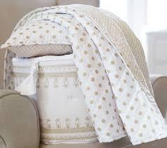 Beige Crib Bedding Set Metallic Dot Bumper Pottery Barn