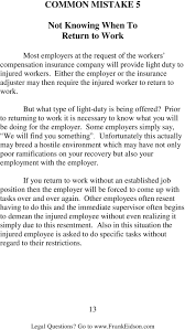 what is light duty work 9 common mistakes that can destroy your workers compensation claim pdf