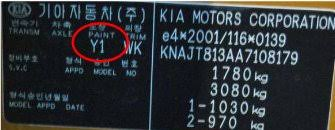 finding car paint colour codes for a kia