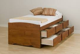 bedroom inspiring brown wooden storage bed designed with double