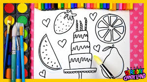 learn color kids color fruit birthday cake coloring