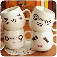 Cute Coffee Cups Cute Creative Love Expression Ceramic Mugs Coffee Milk Water