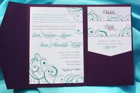 Folded Wedding Invitations Purple Teal U0026 Turquoise Puzzle Piece U0026 Swirl Pocketfold Wedding
