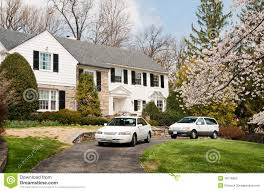 Luxury House Luxury House With Two Cars In Driveway In Maryland Stock Photos