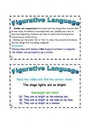 english teaching worksheets figurative language