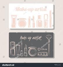 makeup artist business card hand drawn stock vector 463344083