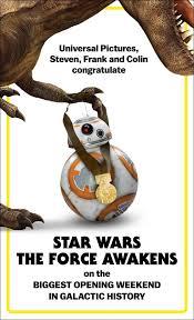 Star Wars Congratulations Card Universal Congratulates U0027star Wars U0027 For Box Office Record