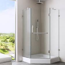 38 Shower Door Shop Vigo Piedmont 38 In To 38 In Frameless Chrome Hinged Shower