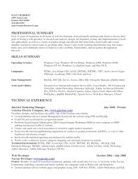 Summary Of Skills Resume Sample Summary Of Skills Resume Examples Resume Examples 2017