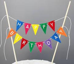cake banner topper happy birthday cake banner rainbow cake bunting topper