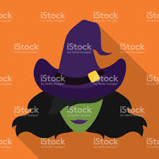 halloween purple and orange background witch icon on orange background stock vector art 492962908