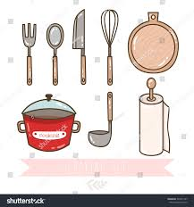 kitchen tools and equipment set cute kitchen utensil collection cookware stock vector