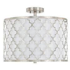 white drum light fixture silver quatrefoil drum chandelier
