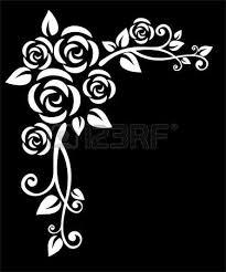 imagenes blancas en fondo negro estilizado frontera floral de rosas blancas sobre un fondo negro