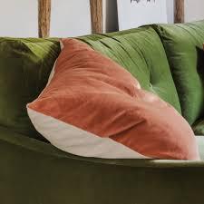coral velvet u0026 linen cushion