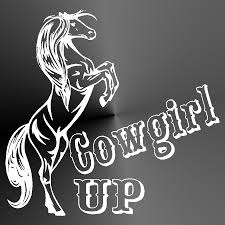 decal sticker cowgirl up horse cut vinyl car truck jeep window
