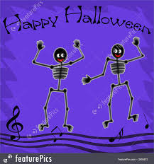 Halloween Skeletons by Dancing Halloween Skeletons Illustration