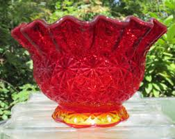Red Glass Vases And Bowls Amberina Glass Etsy
