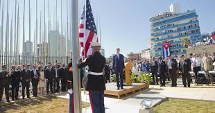 Marines Holding Flag Kerry Calls For Democracy In Cuba As U S Flag Raised
