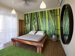 chambre en bambou déco chambre à coucher avec papier peint trompe loeil la déco d