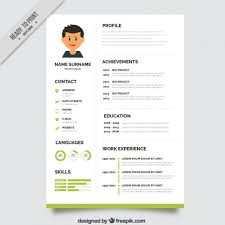 resume with photo template green resume template vector free