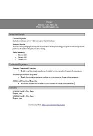 Template Functional Resume