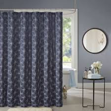 Grey Shower Curtains Fabric Buy Silver Blue Fabric Shower Curtains From Bed Bath U0026 Beyond