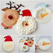 Homemade Christmas Decorations With Paper Wonderful Diy Christmas Santa Rudolph And Snowman Using Paper Plate