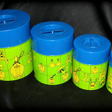 vtg 60s retro blue u0026 green mushroom metal kitchen canister set of