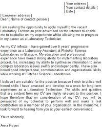 cover letter lab technician research technician cover letter