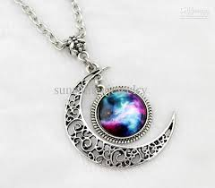 moon necklace images Wholesale moon necklace charm necklace silver hollow star jpg