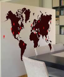 World Map With Pins by World Map Sticker Wall Art Shenra Com