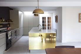 Gold Kitchen Cabinets Phenomenal Bright Kitchen With Golden Brass Island