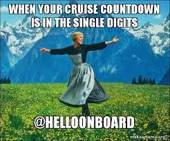 Cruise Meme - when your cruise countdown is in the single digits helloonboard