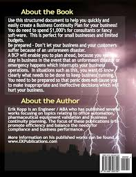 business continuity plan template for small business business continuity plan bcp template with instructions and business continuity plan bcp template with instructions and example erik kopp 9781466328792 amazon com books