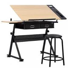 Drafting Table And Desk Office Drawing Desk Station Adjustable Drafting Table Set W Stool