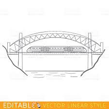 train on bridge editable outline sketch illustration stock vector