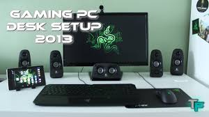 Gaming Pc Desk by Gaming Pc Desk Setup 2013 Razer Style Youtube