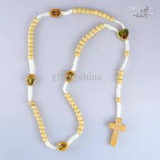 religious necklace wholesale white wooden rosary necklace jesus cross pendant