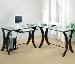 beautiful l shape computer desks wood and glass material white