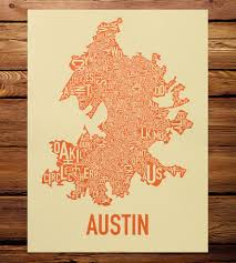 World Map Posters by Austin Neighborhood Map Art Print Features Local Pride Ork
