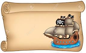 old scroll with pirate ship color illustration stock photo