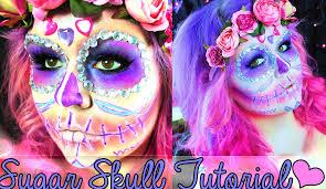 Sugar Skull Halloween Makeup Glittery Sugar Skull Halloween Makeup Tutorial Youtube