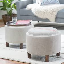 Fabric Storage Ottoman by Fabric Storage Ottoman With Tray Home Design